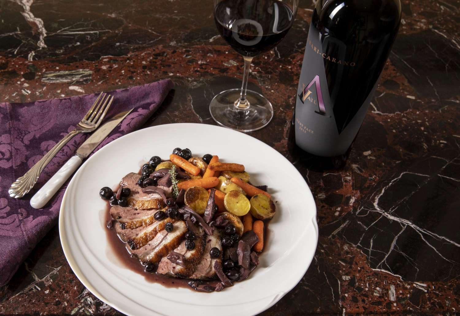 Pan Roasted Duck Breast With Blueberries Ferrari Carano
